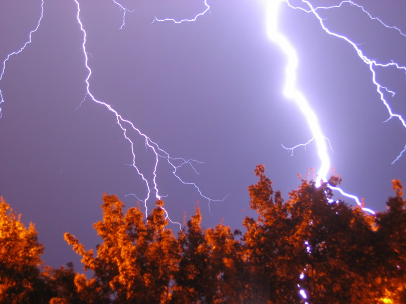 Lightning - long exposure, handheld while stood in the front door of my home during a storm